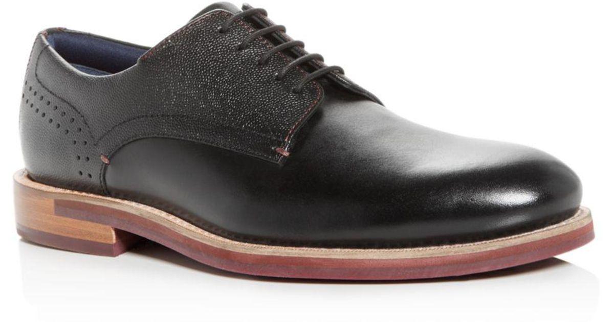 26019f7d45d6e Lyst - Ted Baker Men s Jhorge Mixed Leather Plain-toe Oxfords in Black for  Men