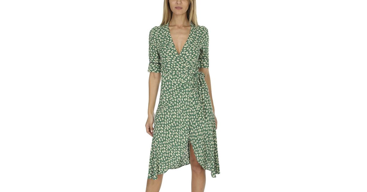 b80bb932 Ganni Dalton Crepe Wrap Dress Green in Green - Lyst