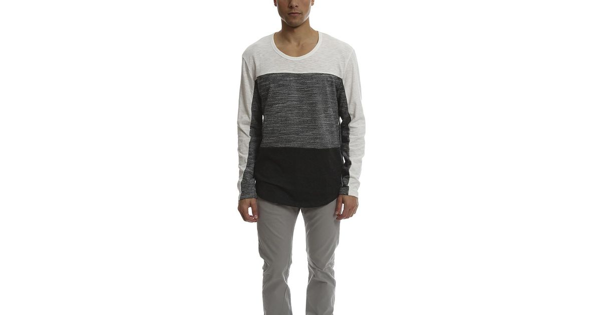ae795274b91ca Lyst - Shades of Grey by Micah Cohen Long Sleeve Colorblock Tee in Gray for  Men