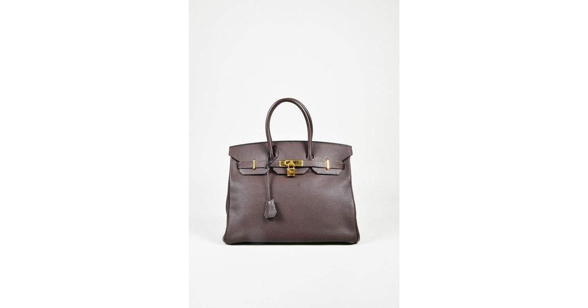 1ef9cef211 ... promo code for lyst hermès 1 cafe brown evergrain leather birkin 35 top  handle bag in