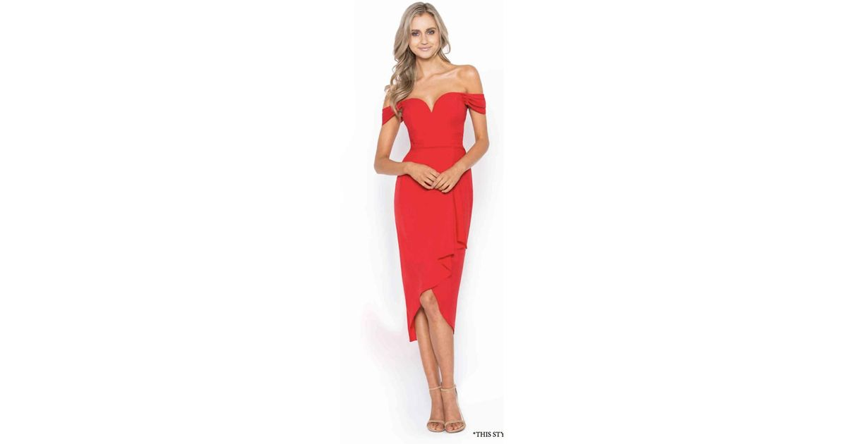 Lyst - Bariano Rory Off-shoulder Draped Midi in Red