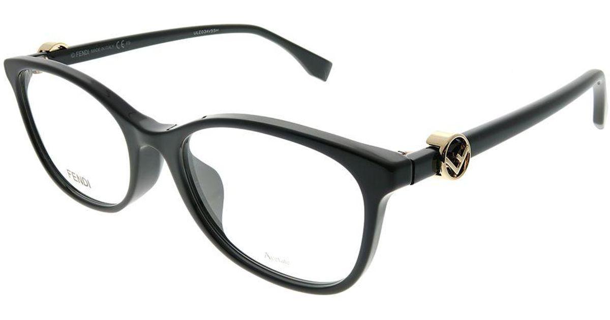 b255b9e611 Lyst - Fendi F Is Asian Fit Ff 0337 f 807 53mm Black Rectangle Eyeglasses  in Black
