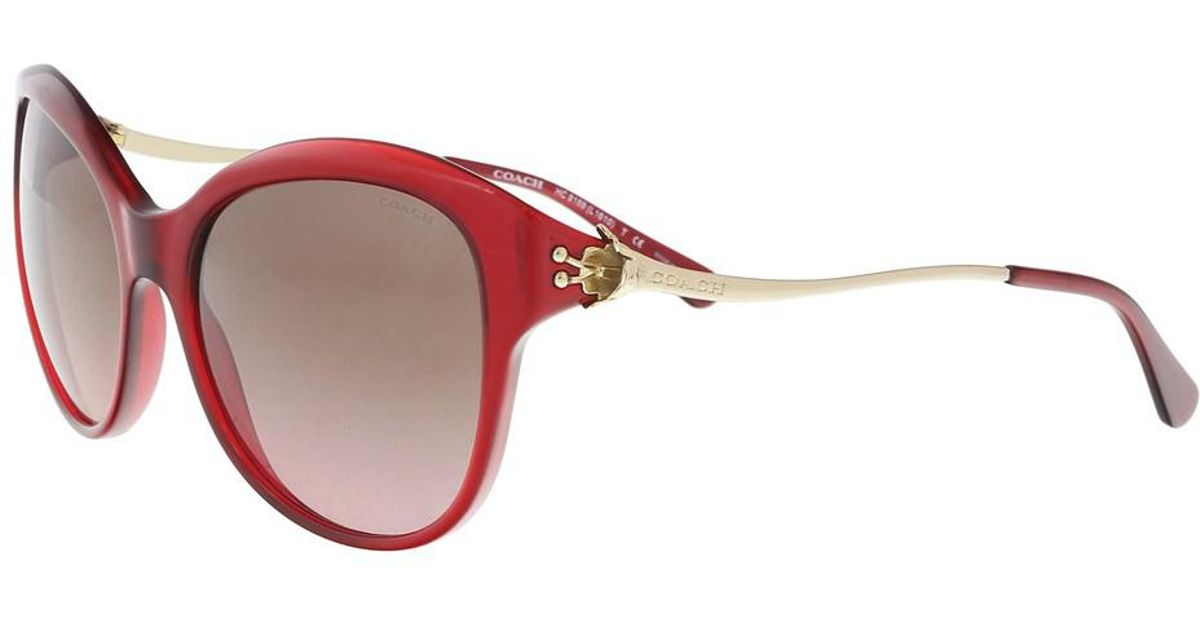 bf0bfd93ec ... new zealand coach hc8189 541914 burgundy light gold round sunglasses in  red lyst 0cc34 38343
