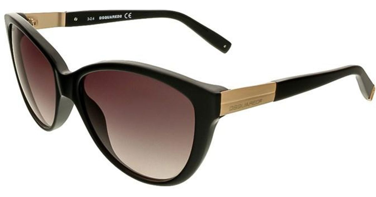 7cdce883eb7 Lyst - Dsquared² Dq0112 s 01b Black Cat Eye in Black