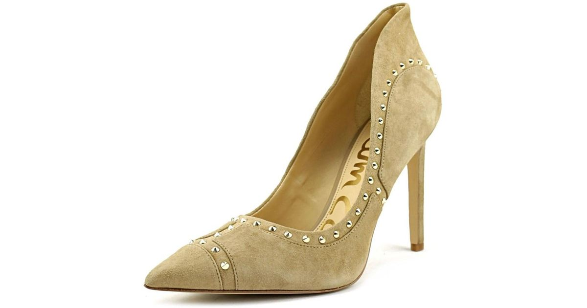 b06a5e4a1550aa Lyst - Sam edelman Hayden Pointed Toe Suede Heels in Natural