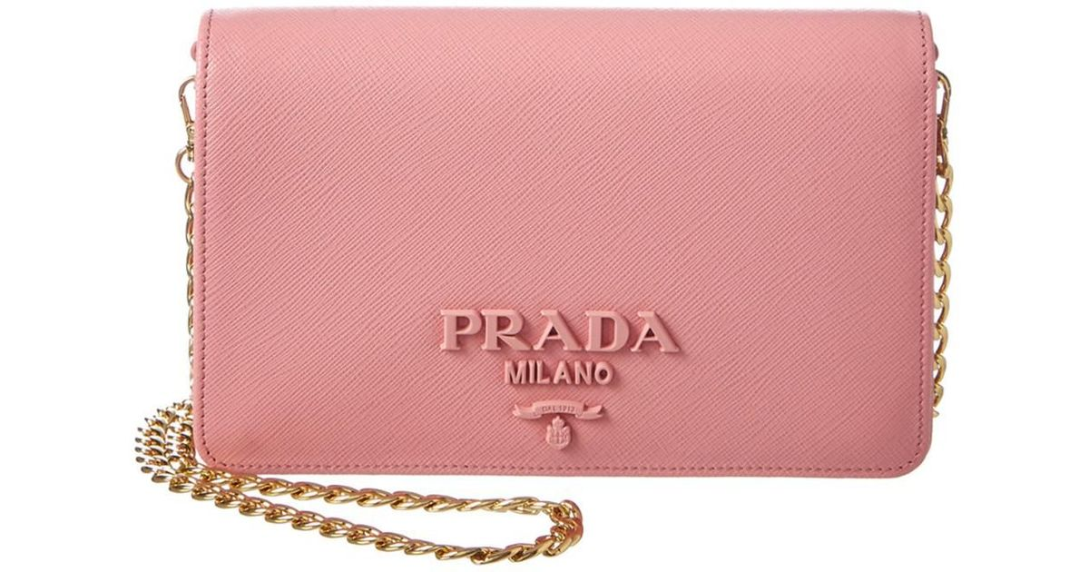 9d9a91bbc44e ... uk lyst prada monochrome saffiano leather wallet on chain in pink 76075  9beef