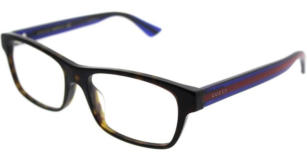 33e36ea021f9 Lyst - Gucci Asian Fit GG 0006oa 003 Havana Blue Rectangle Eyeglasses in  Blue