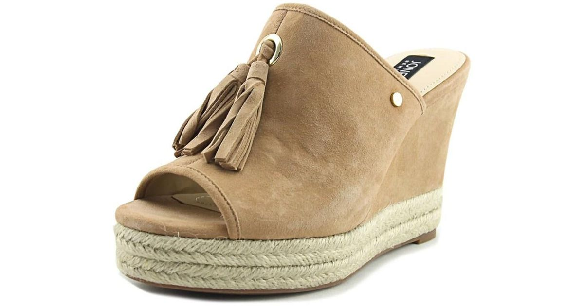 f5c40b84e78 Lyst - Jones New York Ariel Women Open Toe Suede Tan Wedge Sandal in Natural