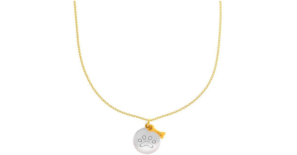 Lyst jewelryaffairs 14k white gold round paw charm and dog bone lyst jewelryaffairs 14k white gold round paw charm and dog bone pendant necklace 17 in white aloadofball Images