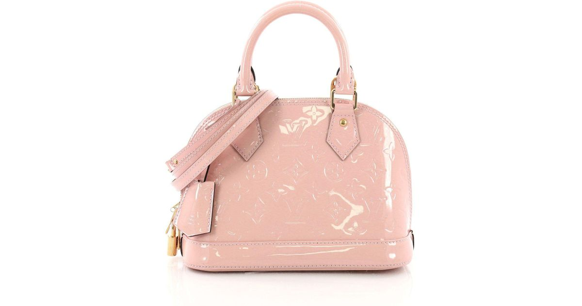 6d17cf7ab096 Lyst - Louis Vuitton Pre Owned Alma Handbag Monogram Vernis Bb in Pink
