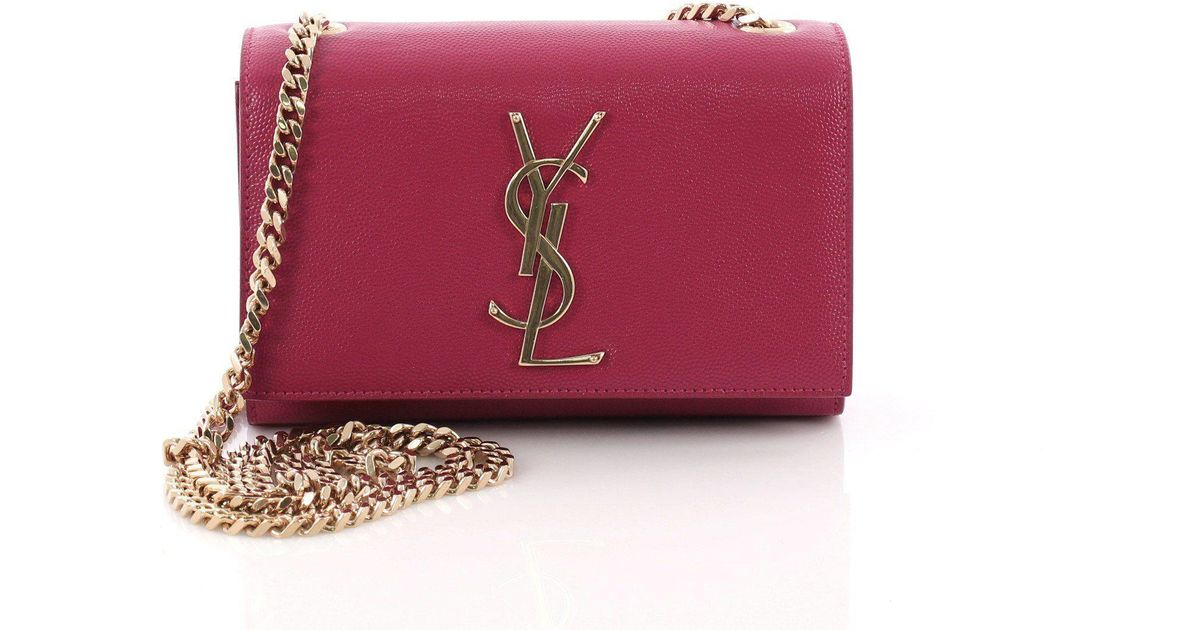 26eafcc3f995 Lyst - Saint Laurent Pre Owned Classic Monogram Crossbody Bag Grainy  Leather Small
