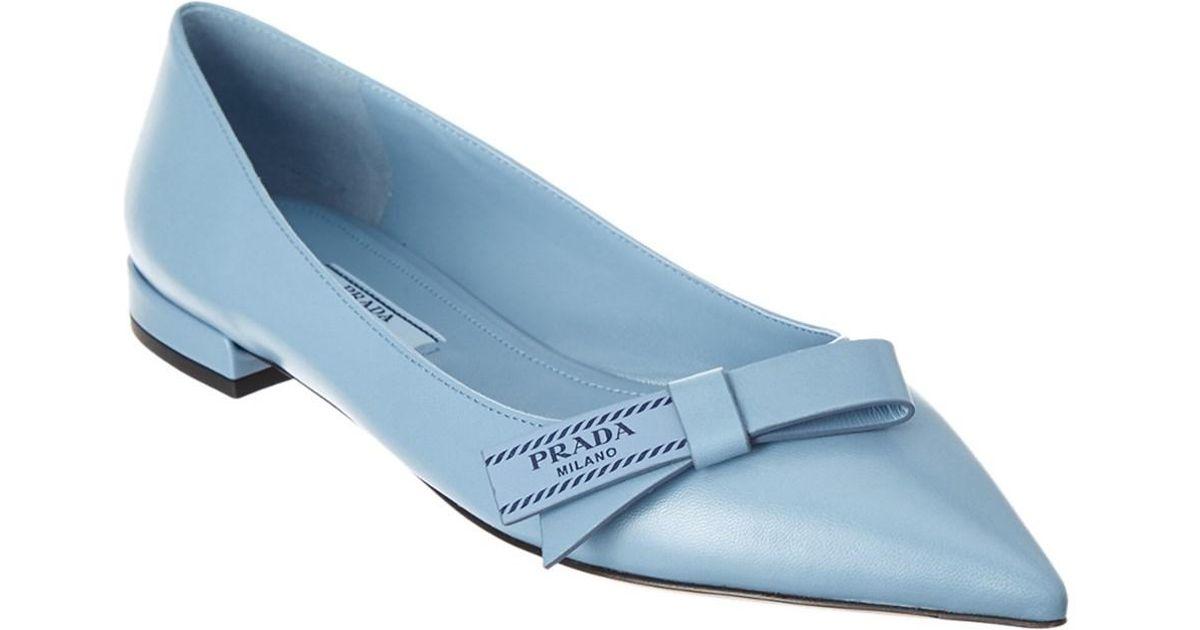 Prada Etiquette Leather Flats 4IN8wRjq