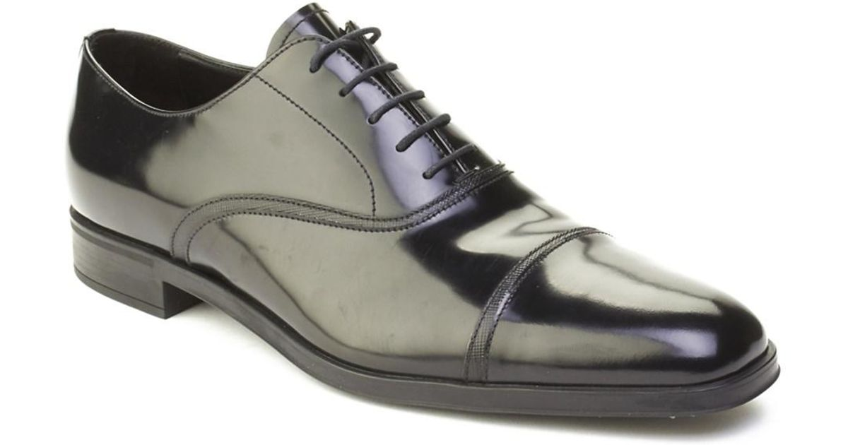 Lyst Prada Men S Leather Oxford Derby Dress Shoes Black In For
