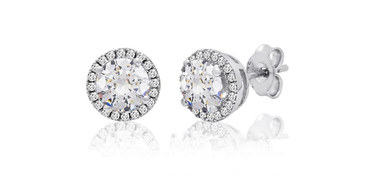Amanda Rose Collection Sterling Silver Halo Stud Earrings Of Swarovski Zirconia Encircling Crystals In Metallic Lyst