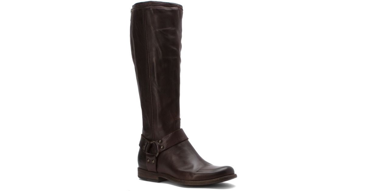 frye s phillip harness extended calf boots in