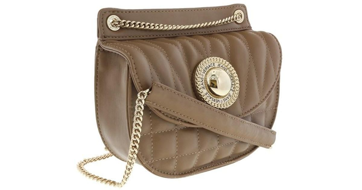 5e4a4955d0 Lyst - Versace Ee1vqbby5 E148 Quilted Half Moon Shaped Shoulder Bag- Front  Flap Oasi Shoulder in Brown