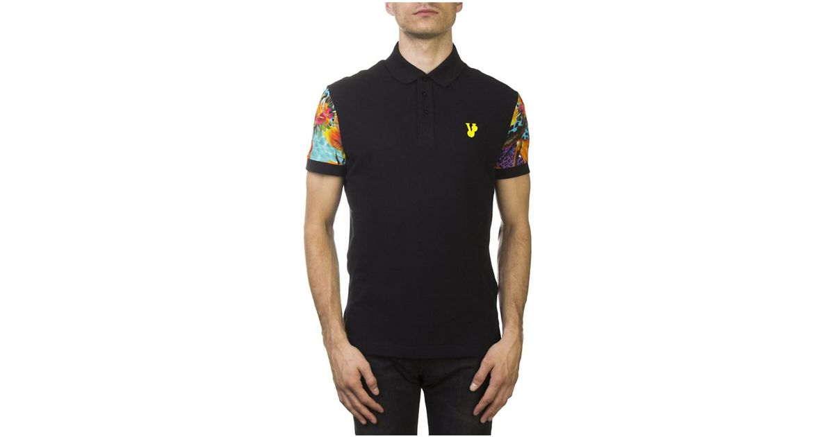 7cfdb6fc Lyst - Versace Jeans Couture Pima Cotton Floral Sleeve Polo Shirt Black in  Black for Men