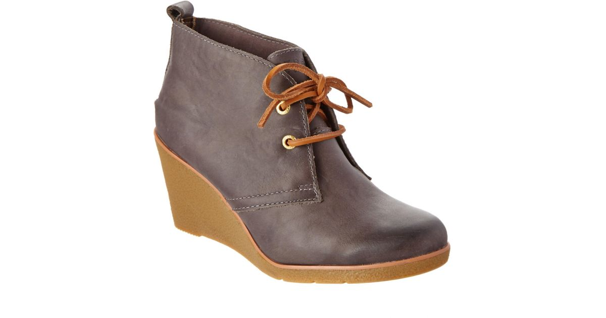 8b27c768d30 Lyst - Sperry Top-Sider Harlow Leather Wedge Boot in Gray