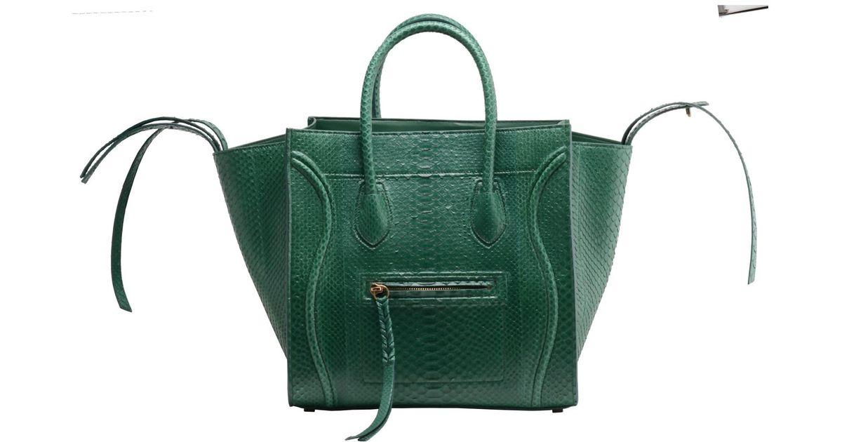 Céline Medium Luggage Phantom Full Python Handbag Emerald Green in ...