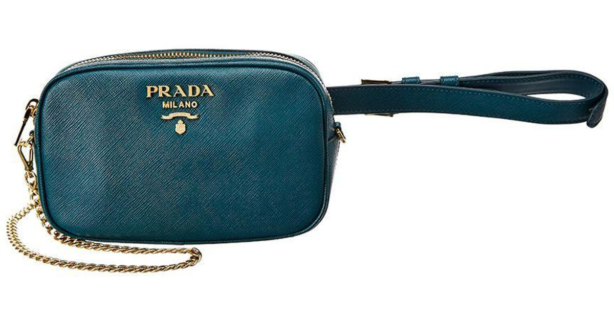 428dff0f2f2c Lyst - Prada Saffiano Leather Belt Bag in Green