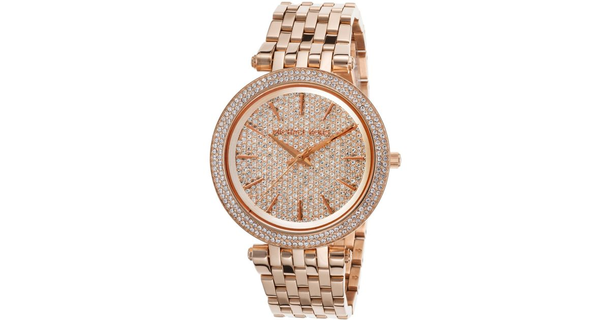 79f1ddc2f995 Lyst - Michael Kors Women s Darci Rose-tone Stainless Steel Pave Crystal  Dial in Pink
