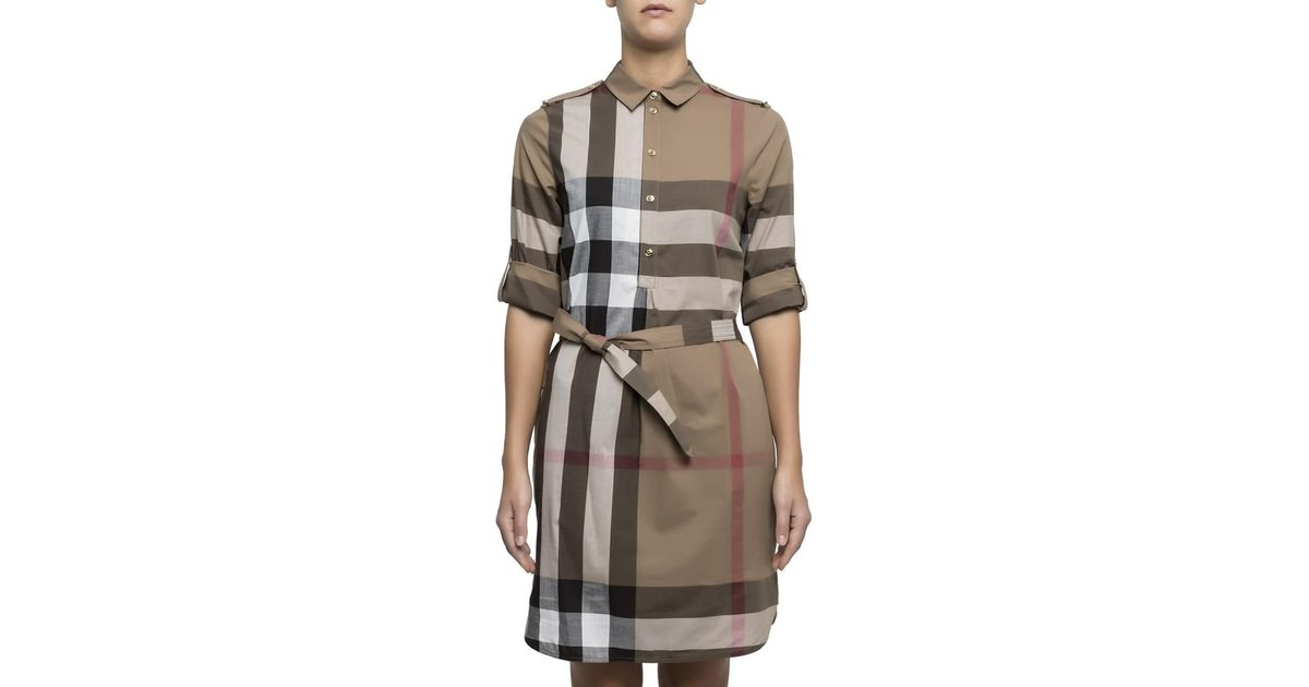 4889f8a966a23 Lyst - Burberry Women s Multicolor Cotton Dress