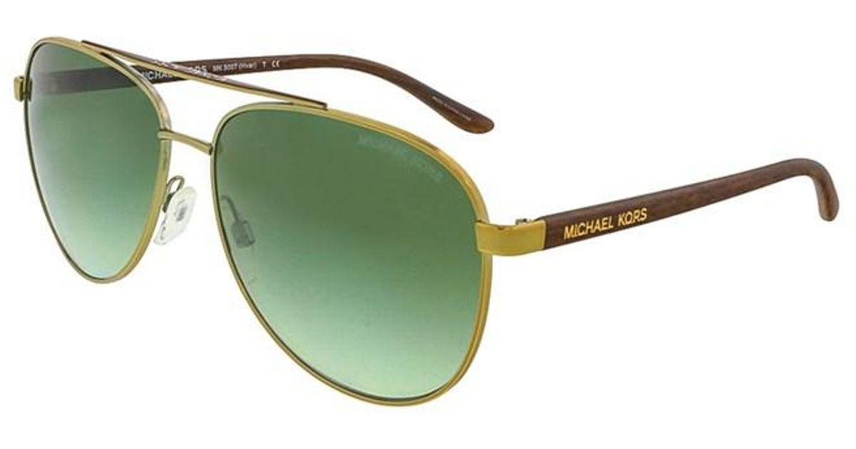2de0404dec Lyst - Michael Kors Mk5007 Hvar 10432l Gold Wood Aviator Sunglasses in  Metallic