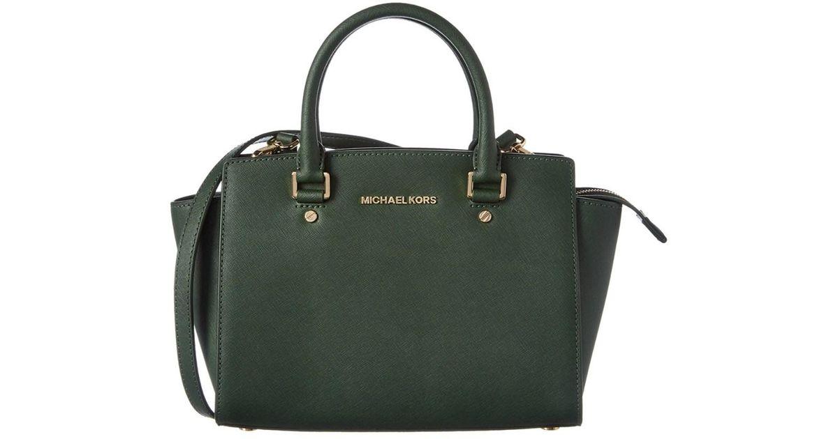 8df1e88b457e ... greece michael michael kors selma medium leather satchel in green lyst  100e5 231b9