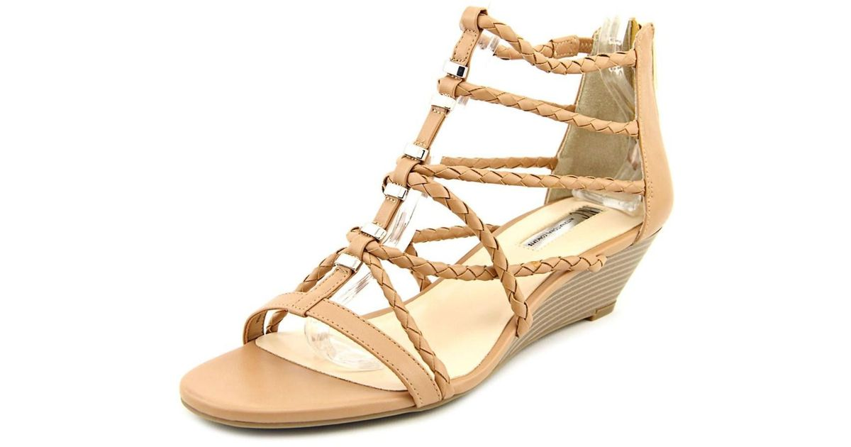 d9ca64c2b44c Lyst - Inc International Concepts Makera Women Open Toe Leather Tan Wedge  Sandal in Natural