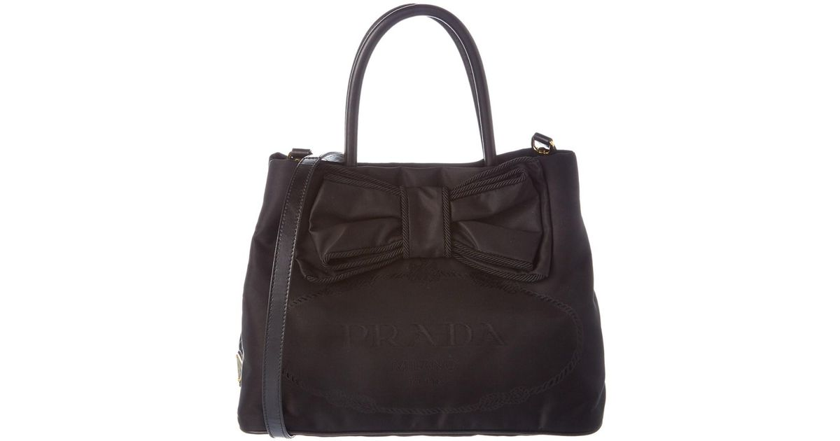 44228c28d9 shopping prada nylon shoulder bag black 22499 b0980  buy lyst prada nylon  bow tote in black 2ddee 3799f