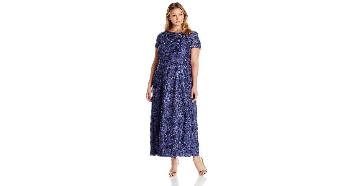 db612340a55 Lyst - Alex Evenings Plus Size Rosette Short Sleeve A-line Dress in Purple