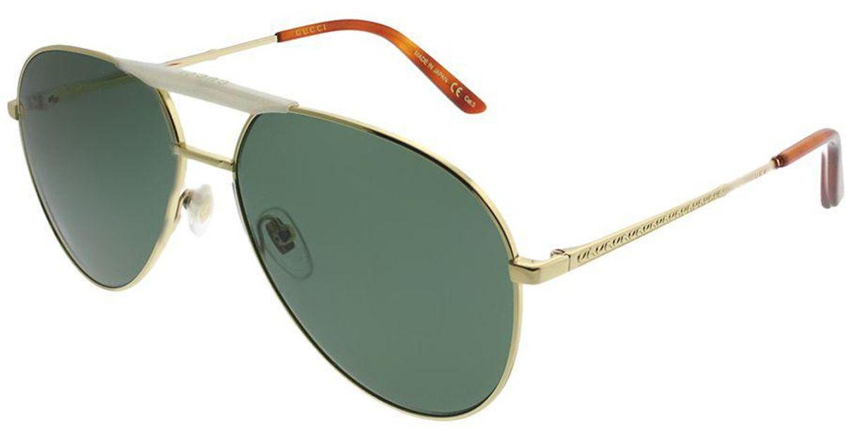 7bb7f2e48f Lyst - Gucci Gg0242s 003 Gold Aviator Sunglasses