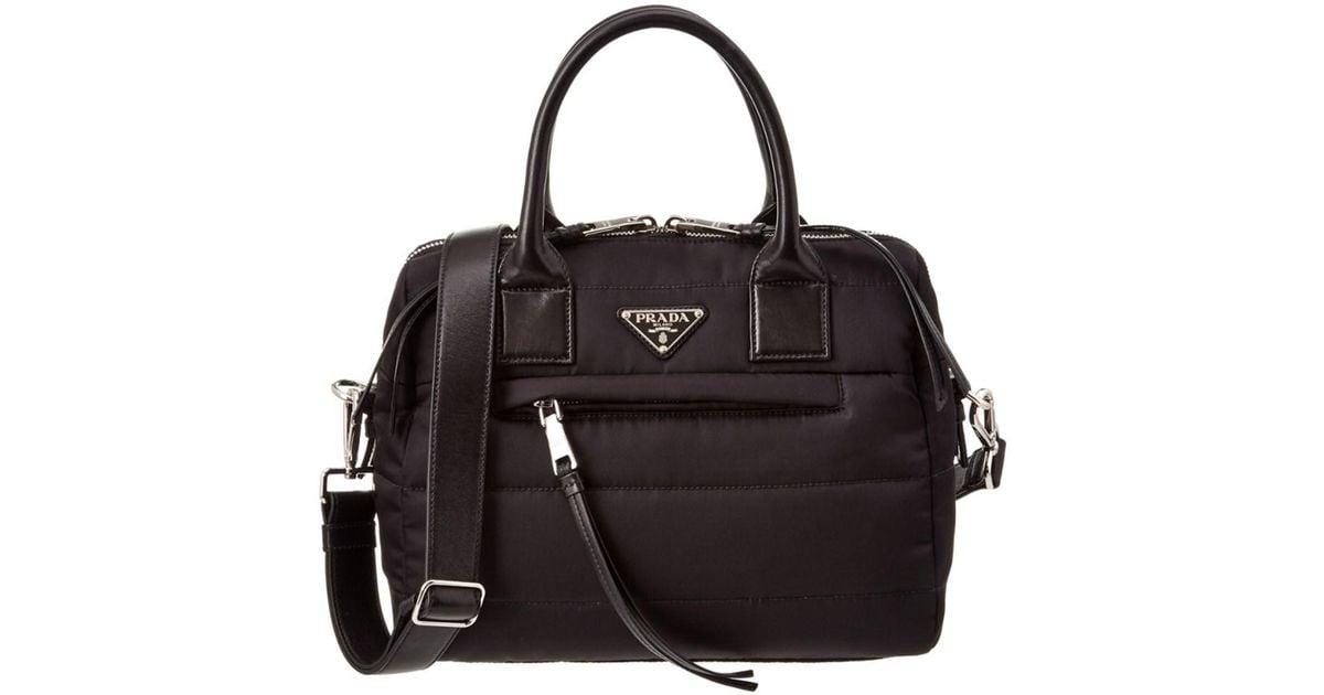 ab6bdc88bfa0 ... discount lyst prada bomber effect fabric top handle tote in black ffe7c  1fb0d