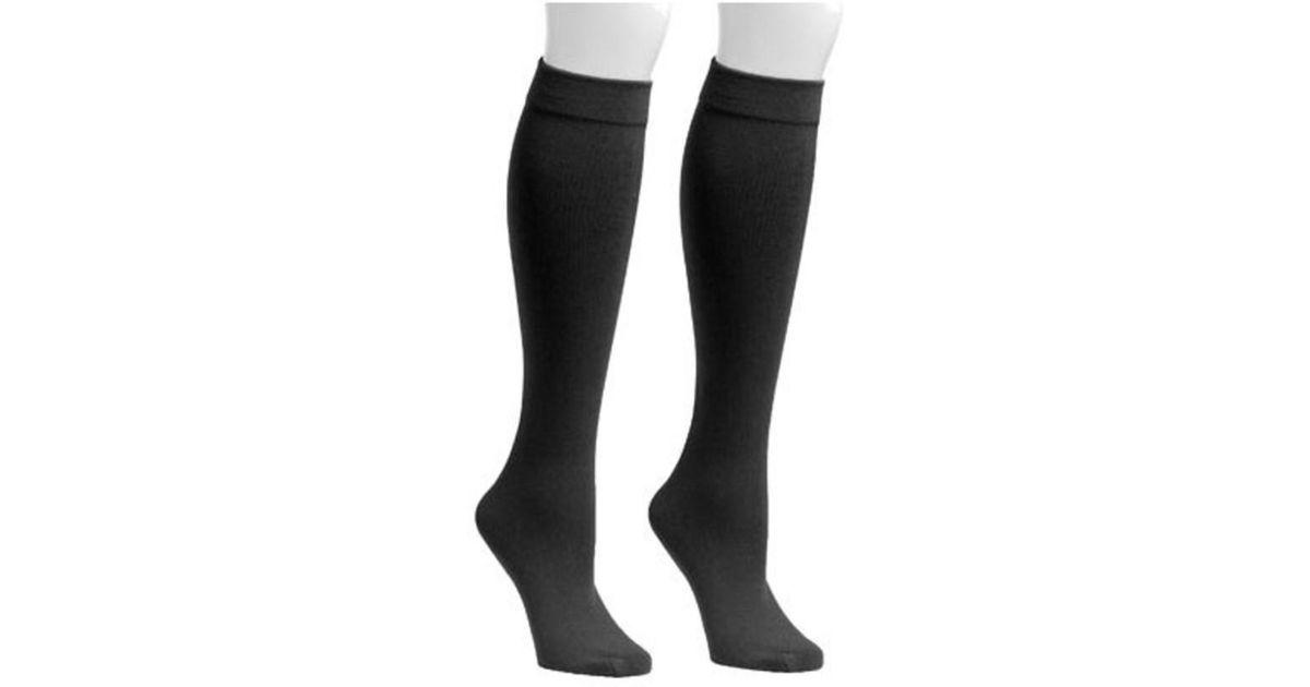 1617bf037 Lyst - Muk Luks Women s Fleece Lined 2-pair Pack Knee High Socks in Black