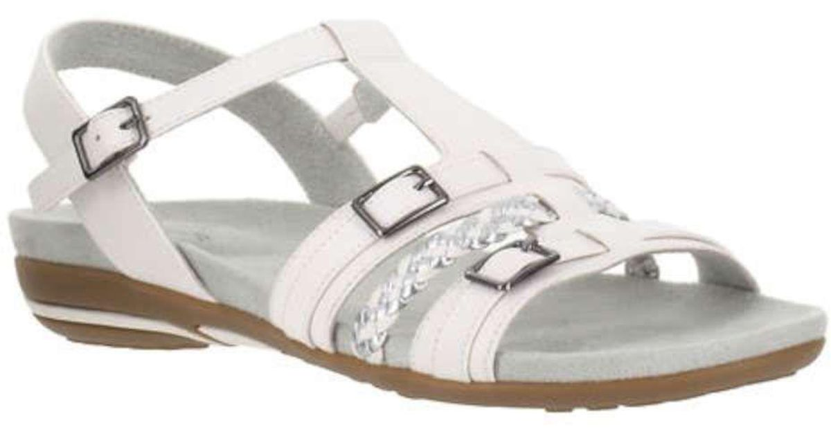 02f6bcebf78104 Lyst - Easy Street Womens Parker Open Toe Casual Ankle Strap Sandals in  White