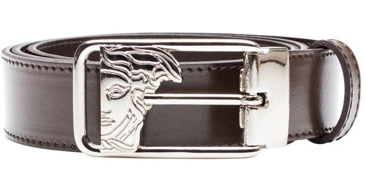 1fb2766c Versace - Collection Men's Medusa Steel Buckle Leather Belt Brown for Men -  Lyst