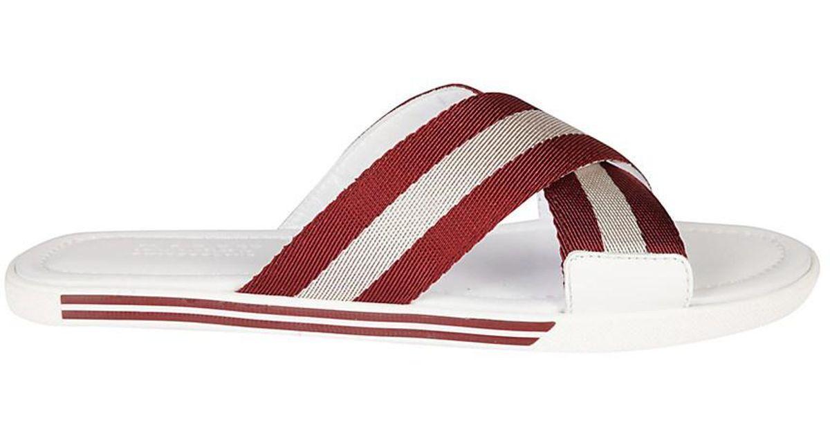 14d19eb50b99 Lyst - Bally Men s 6213024 White red Polyester Sandals in White for Men
