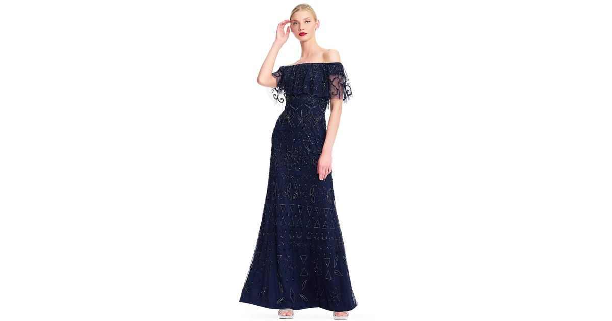Lyst Adrianna Papell Off The Shoulder Beaded Gown With Sheer