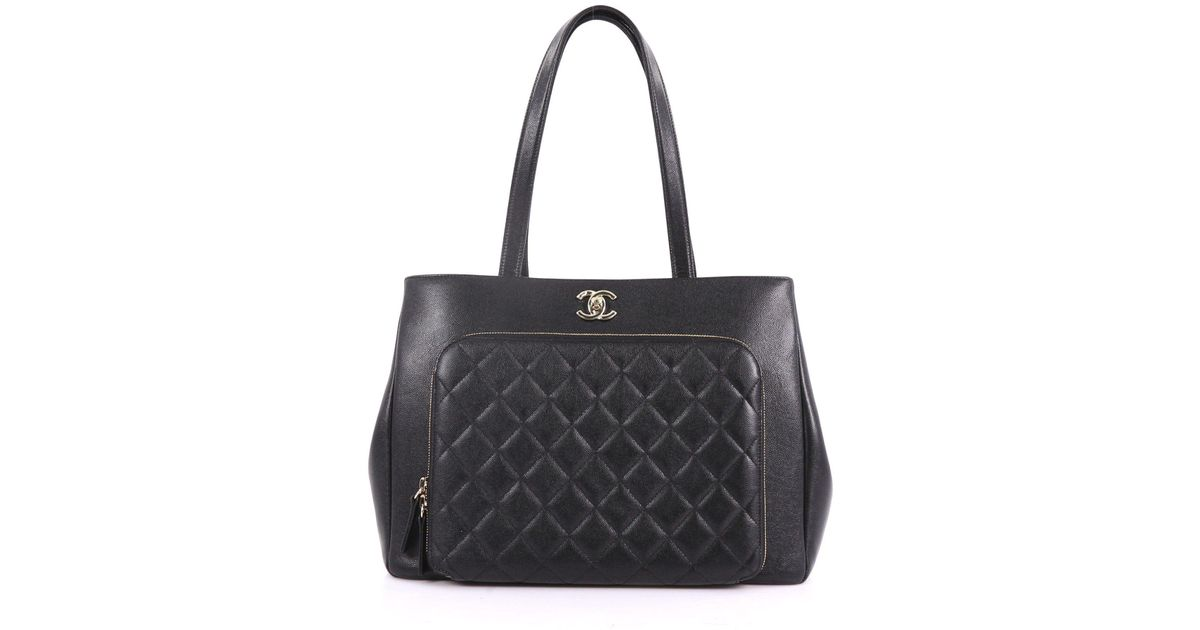f3be8ac5248eef Lyst - Chanel Pre Owned Business Affinity Tote Quilted Caviar Large in Black