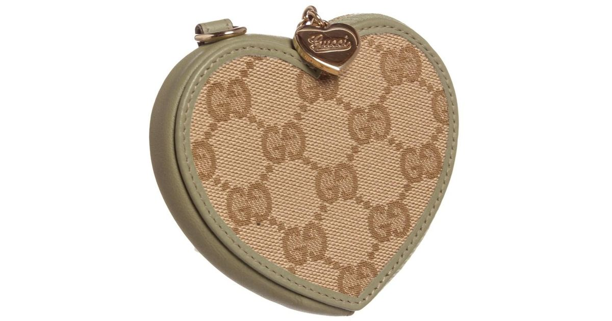 fe856fec30ed Lyst Gucci Beige Green Canvas Leather Heart Coin Purse Pouch In. Authentic Pre  Owned ...