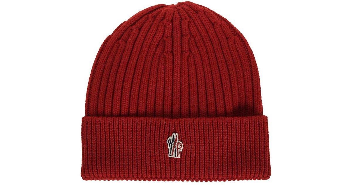 eda7c621206 Moncler Men s Red Wool Hat in Red for Men - Lyst