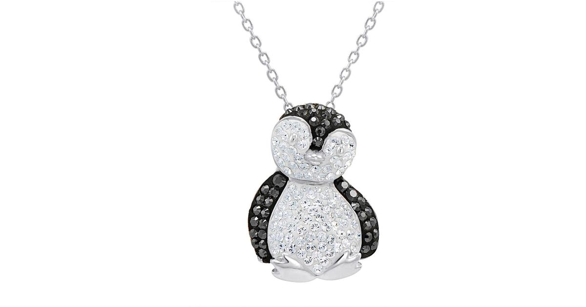Lyst amanda rose collection sterling silver black and white lyst amanda rose collection sterling silver black and white crystal penguin pendant necklace with swarovski elements in metallic mozeypictures Images