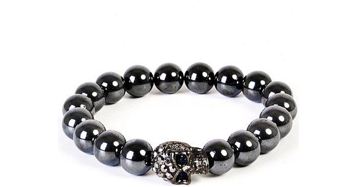 Lyst Eklexic Men S Gunmetal Skull Hemae Bead Bracelet 8mm Beads In Gray For
