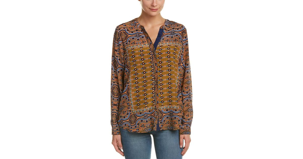 e6e03b7ffd005 Lyst - Tolani Jenny Silk Blouse in Orange