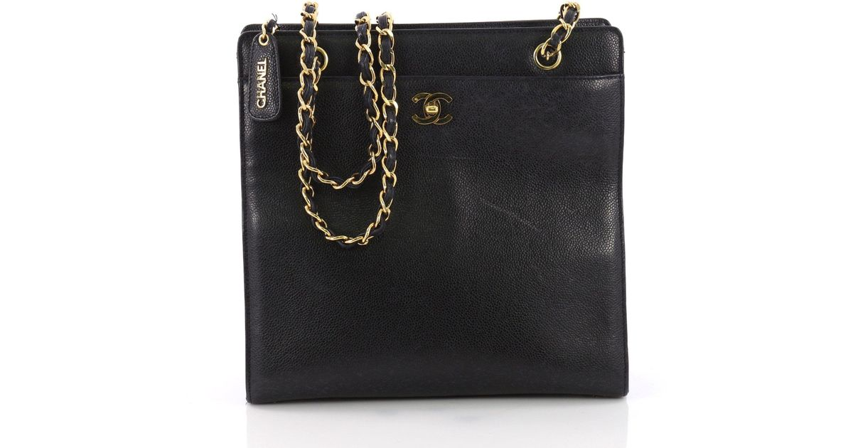 Lyst - Chanel Pre Owned Vintage Cc Lock Pocket Chain Tote Caviar Medium in  Black be6aee7b28