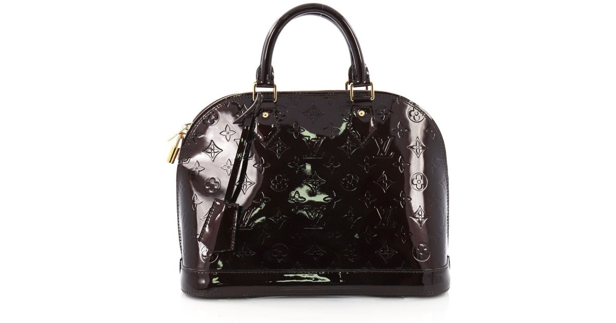 3802bcf8c915 Lyst - Louis Vuitton Pre Owned Alma Handbag Monogram Vernis Pm in Black