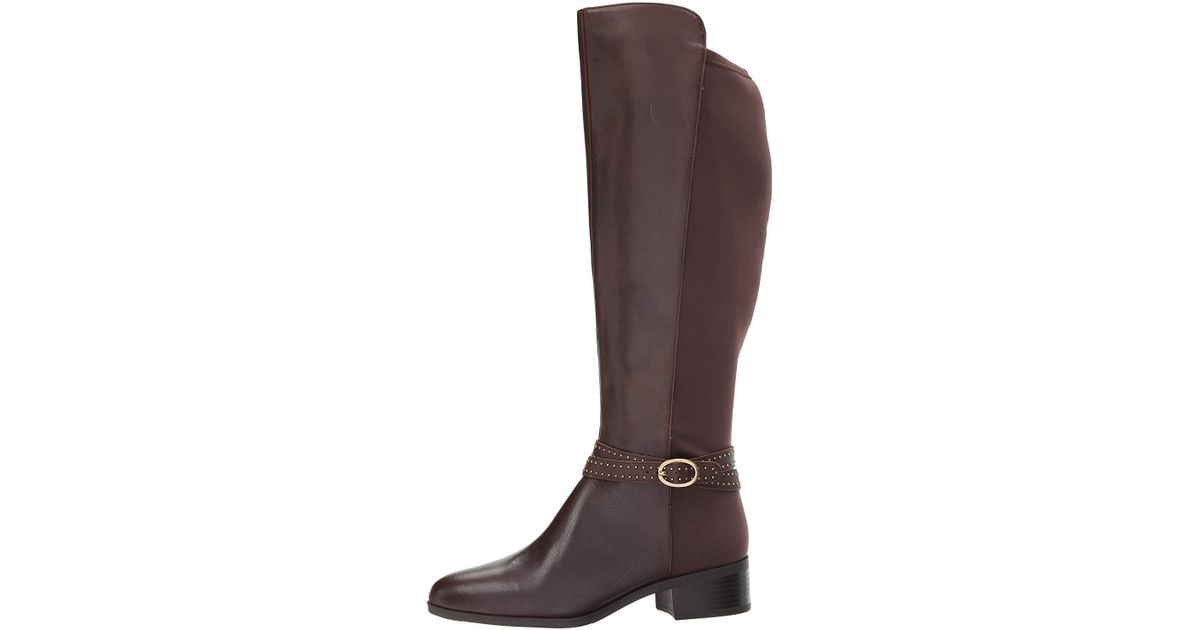 5e25f57dea9 Lyst - Bandolino Womens Bryices Wide Calf Leather Almond Toe Knee High  Fashion Boots in Brown