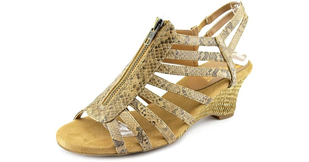 bf41d8dcbb Lyst - Aerosoles Half Dozen Women W Open Toe Synthetic Tan Wedge Sandal