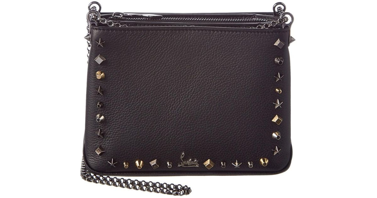 2b1cb2269af Christian Louboutin - Black Triloubi Small Leather Chain Shoulder Bag - Lyst