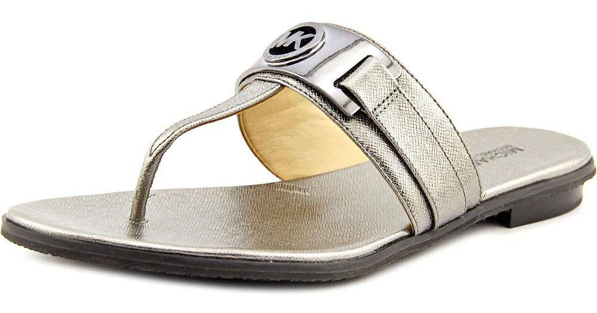 42ff81855d42 Lyst - Michael Michael Kors Warren Thong Women Open Toe Leather Silver  Thong Sandal in Metallic